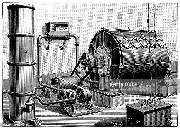 Antique illustration of chemistry machinery for the production of ozone