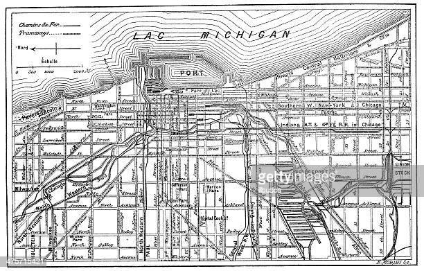 Antique illustration of Chicago map