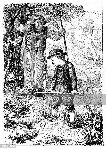 antique illustration of child gardening - landscape gardener stock illustrations, clip art, cartoons, & icons