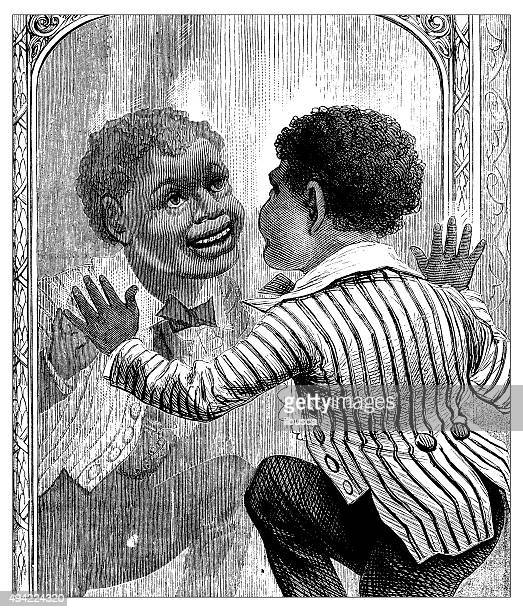 Antique illustration of child looking at mirror