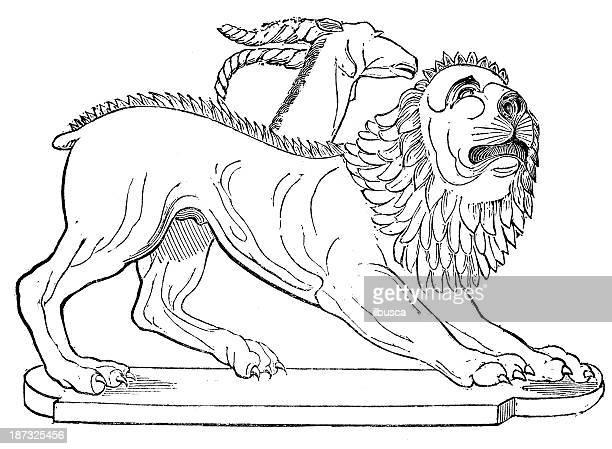 antique illustration of chimera - etruscan stock illustrations