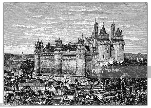 antique illustration of château de pierrefonds (france) - lancet arch stock illustrations