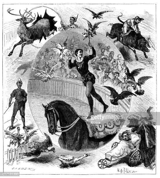 ilustrações, clipart, desenhos animados e ícones de antigo ilustração de circo - arte, cultura e espetáculo
