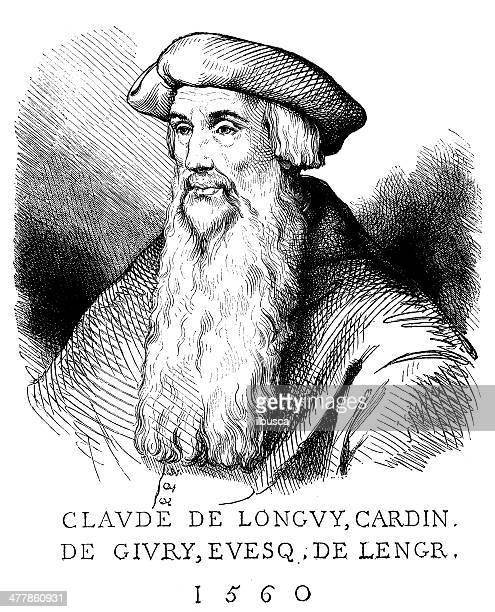 antique illustration of claude de longvy - fine art portrait stock illustrations, clip art, cartoons, & icons
