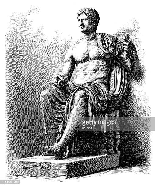 antique illustration of claudius - emperor stock illustrations, clip art, cartoons, & icons