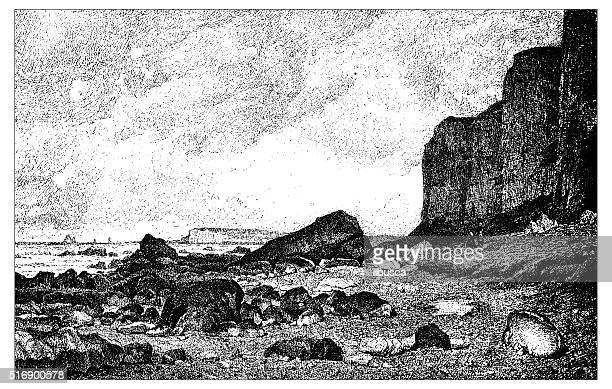 antique illustration of cliffs overlooking the shore (le tréport, france) - normandy stock illustrations, clip art, cartoons, & icons