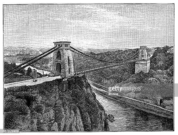 Antique illustration of Clifton Suspension Bridge