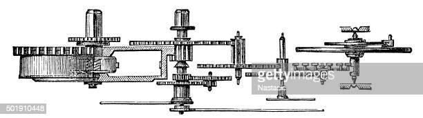 Antique illustration of clock gears
