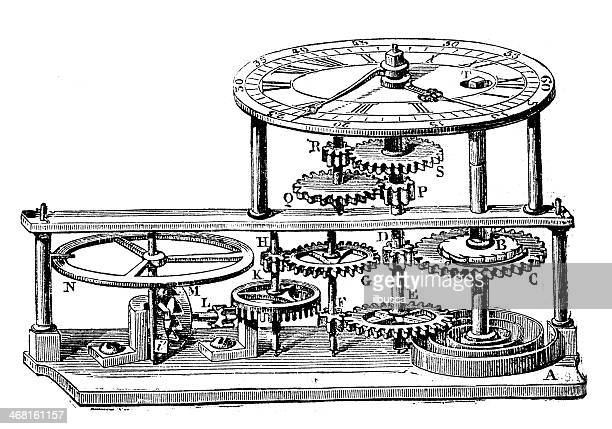 Antique illustration of Clock mechanism