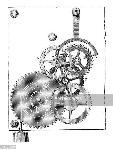 Antiguidade ilustração de relógio/Mecanismo de Relógio