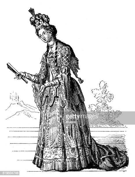 Ilustração de antigo Colombina executar no palco