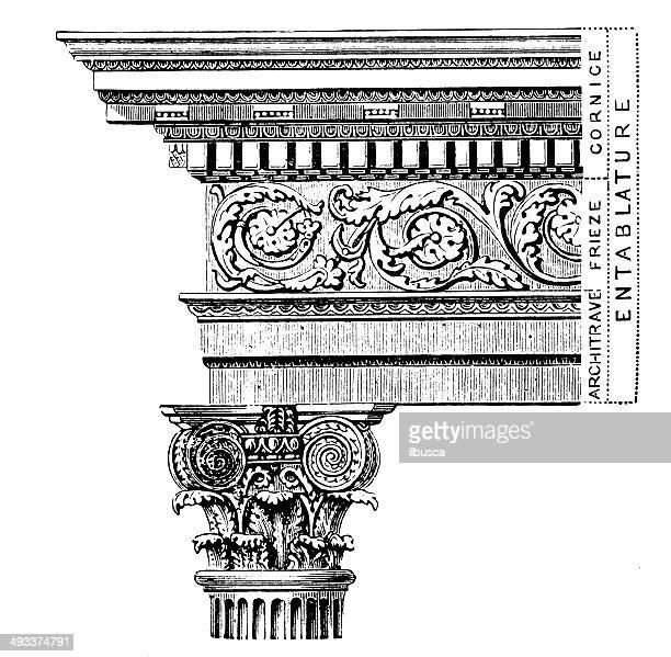 antique illustration of column - corinthian stock illustrations, clip art, cartoons, & icons