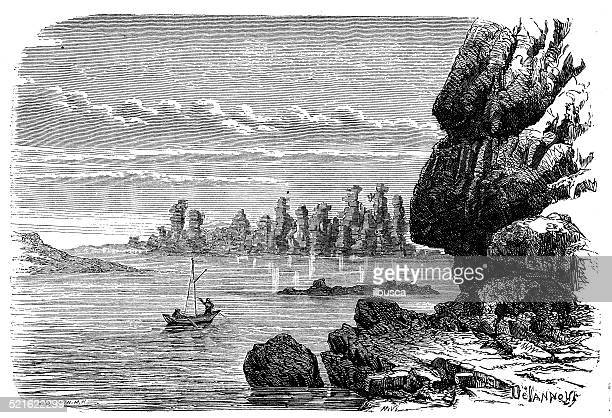 antique illustration of columnar jointed volcanics stones - basalt stock illustrations, clip art, cartoons, & icons