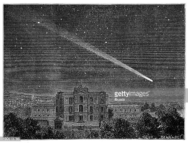 Antique illustration of comet (1843)