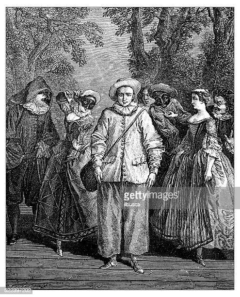 Antique illustration of commedia dell'arte characters on stage