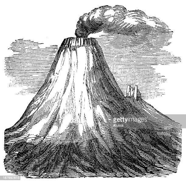 antique illustration of cotopaxi volcano - volcano stock illustrations, clip art, cartoons, & icons