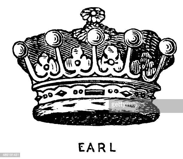 antique illustration of crown - king royal person stock illustrations, clip art, cartoons, & icons