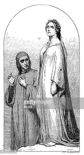 Antique illustration of Dante and Beatrice