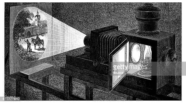 Antique illustration of dark room photographic camera