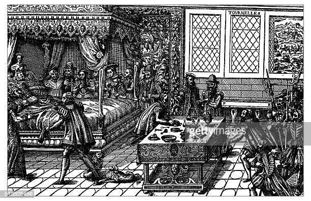 アンティークのイラストレーション死亡のフランス王アンリ 2 世(1559 - カトリーヌ・ド・メディシス点のイラスト素材/クリップアート素材/マンガ素材/アイコン素材