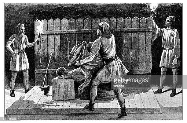 Ilustración antigua de la decapitación