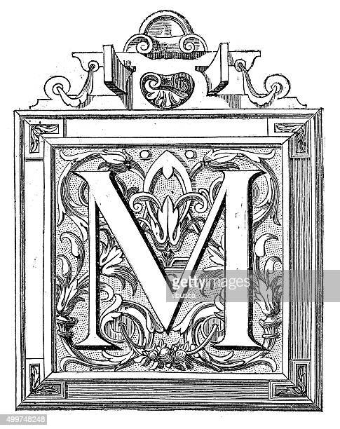 antique illustration of decorated letter m - letter m stock illustrations, clip art, cartoons, & icons
