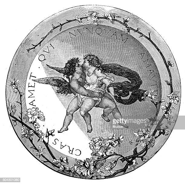antique illustration of decorative earthenware with cupid and latin inscription - earthenware stock illustrations, clip art, cartoons, & icons