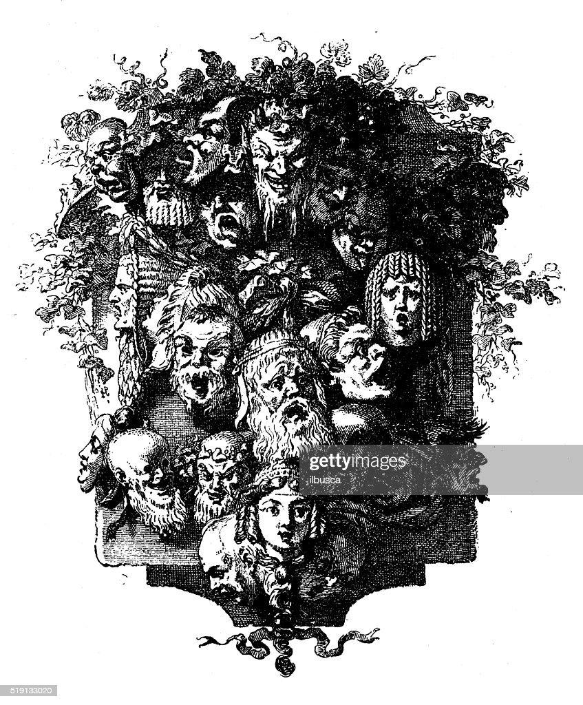 Antique illustration of decorative image (cul-de-lampe) with faces : stock illustration