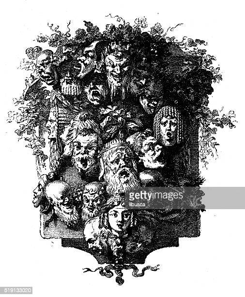 antique illustration of decorative image (cul-de-lampe) with faces - sneering stock illustrations, clip art, cartoons, & icons