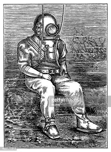 antique illustration of deep sea diver - diving stock illustrations