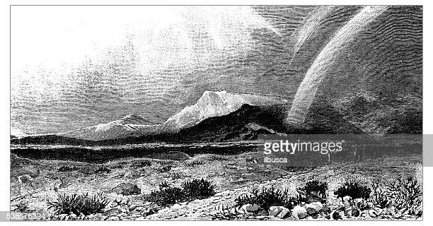 antique illustration of desert of shur - natural arch stock illustrations, clip art, cartoons, & icons