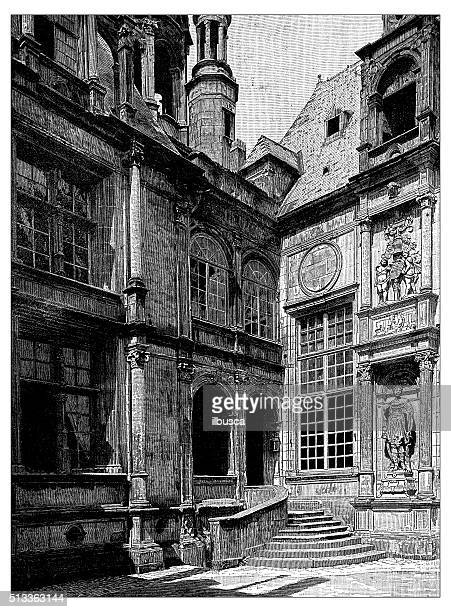 ilustrações, clipart, desenhos animados e ícones de antiguidade ilustração de detalhe do hôtel d'escoville (caen, frança - normandy