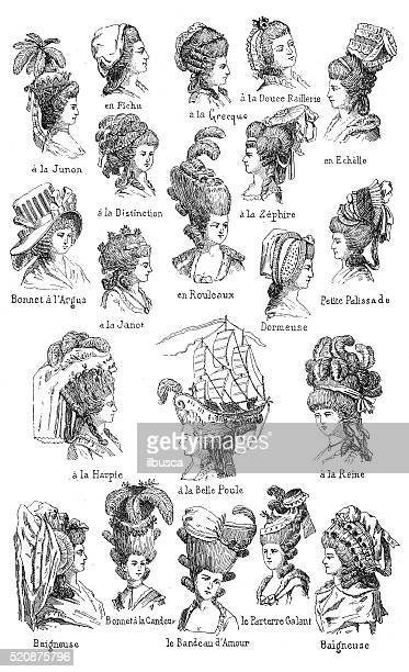 antique illustration of different 18th century hairstyles with french names - 18th century stock illustrations