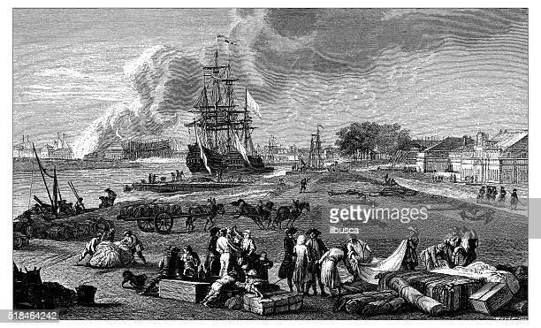 Antique illustration of dock