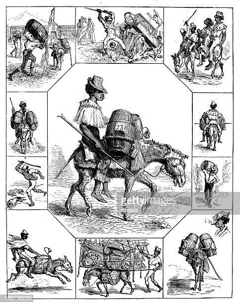 ilustraciones, imágenes clip art, dibujos animados e iconos de stock de anticuario ilustración de burro portador - mula