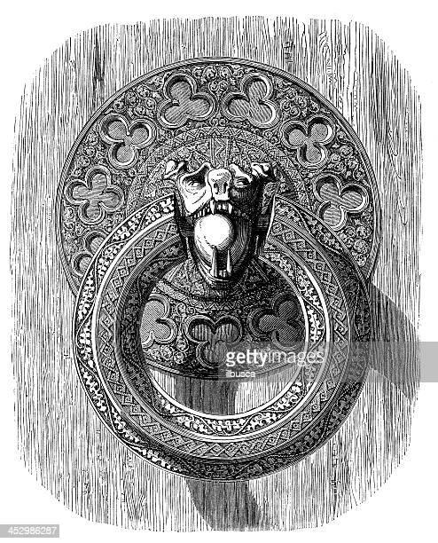 illustrations, cliparts, dessins animés et icônes de ancienne illustration de heurtoir ring - marteaudeporte