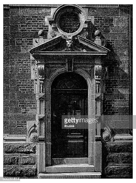 antique illustration of door of the belgian facade at champ-de-mars - pediment stock illustrations, clip art, cartoons, & icons