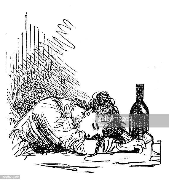 Antique illustration of drunk woman