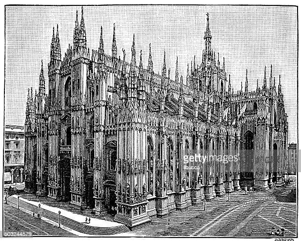 antique illustration of duomo di milano - milan stock illustrations, clip art, cartoons, & icons