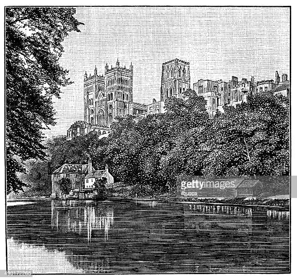 Antique illustration of Durham cathedral