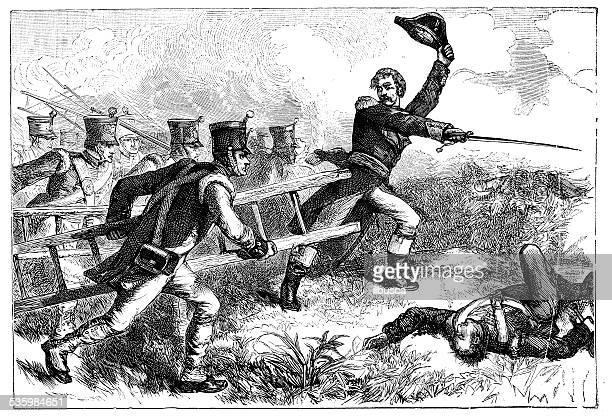 ilustraciones, imágenes clip art, dibujos animados e iconos de stock de anticuario ilustración de edward pakenham en batalla de new orleans - american revolution