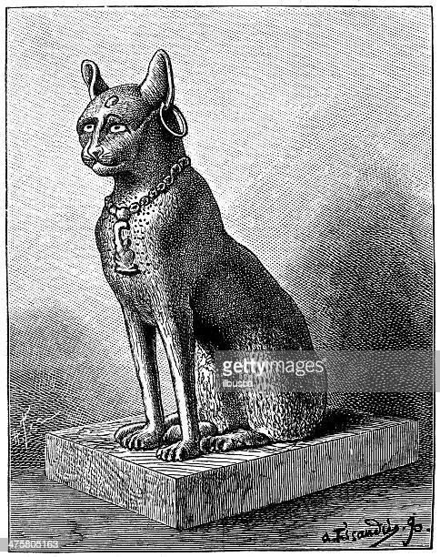 antique illustration of egyptian cat bronze statue - egypt stock illustrations