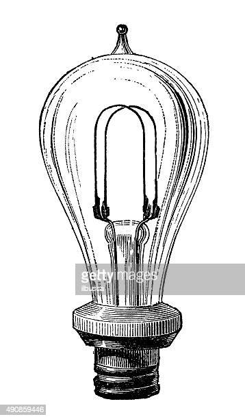 antique illustration of electric lamp systems and bulbs - image technique stock illustrations