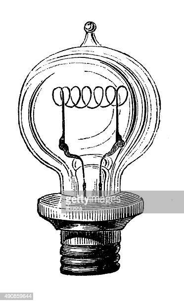 antique illustration of electric lamp systems and bulbs - antique stock illustrations