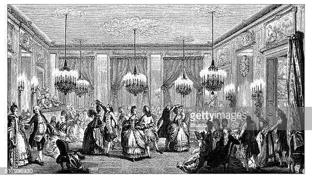 antique illustration of elegant ball party - period costume stock illustrations