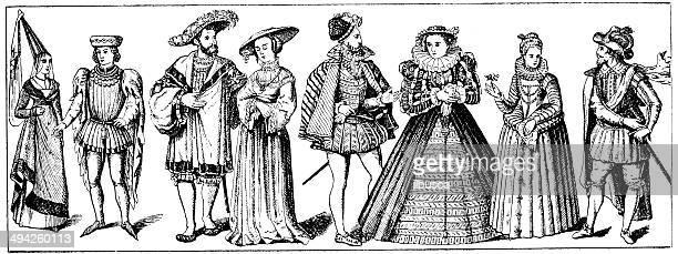 Antique illustration of elegant costumes
