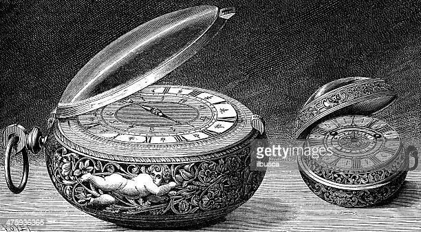 ilustraciones, imágenes clip art, dibujos animados e iconos de stock de anticuario ilustración de elegante reloj de bolsillo - reloj de bolsillo