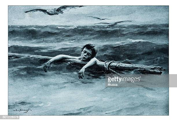 "antique illustration of ""en derive"" by renouf - lost stock illustrations, clip art, cartoons, & icons"