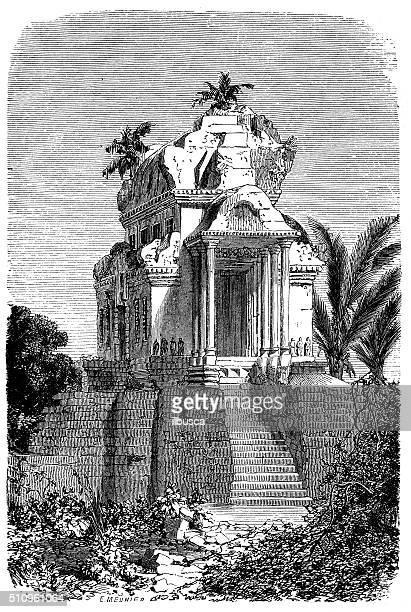 antique illustration of entral pavilion of the angor wat - hindu god stock illustrations