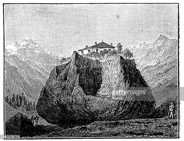 antique illustration of erratic boulder in monthey - boulder rock stock illustrations, clip art, cartoons, & icons